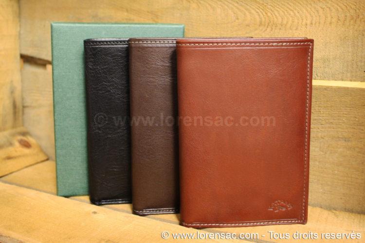 ensemble des 3 coloris marron chocolat et noir du portefeuille KL014 avec un coffret