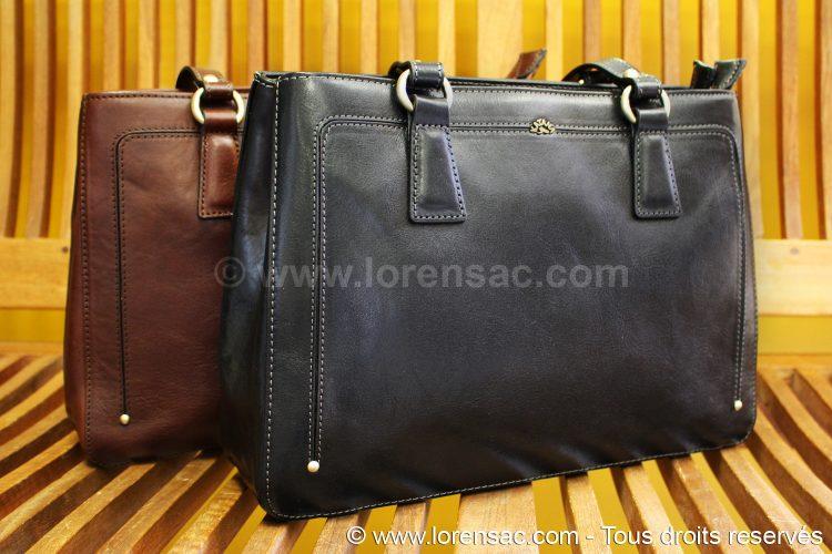 2 sac épaule femme en cuir katana un noir et un marron