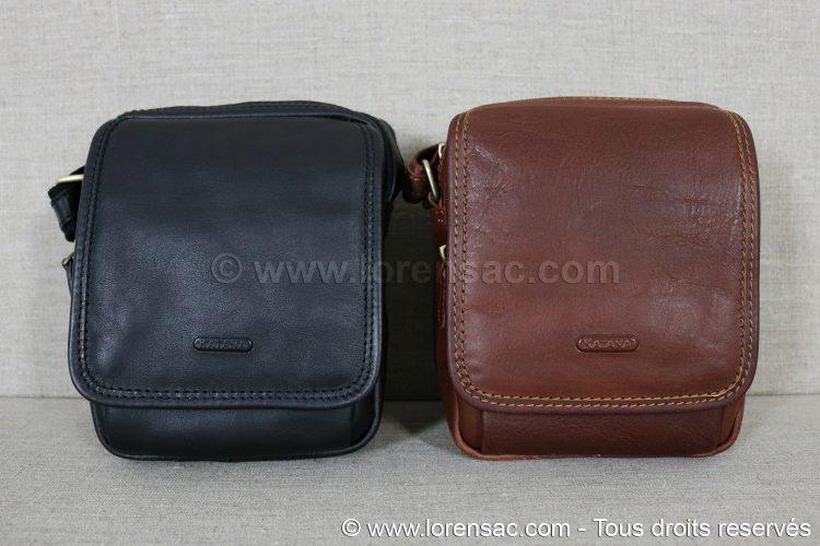Sacoche en cuir noire et marron