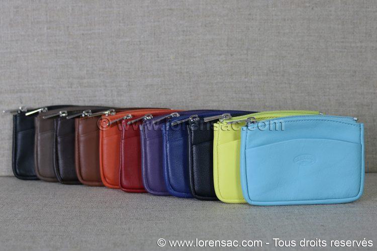 Porte monnaie extra plat en cuir vue de face en 11 coloris