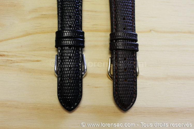 2 Bracelet montre cuir vintage noir et choco