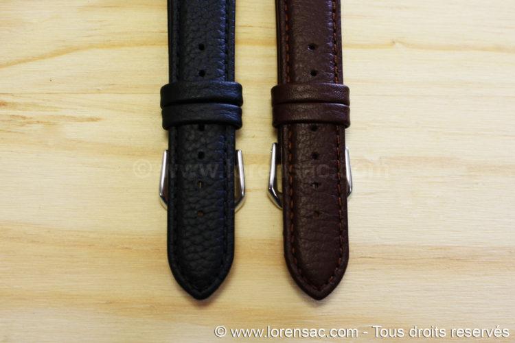 extérieur 2 Bracelets montres cuir vintage chocolat et noir