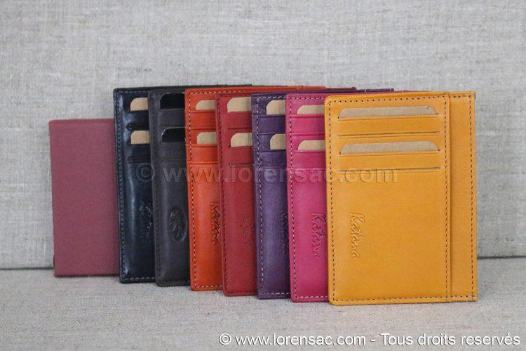 Différents coloris porte cartes en cuir