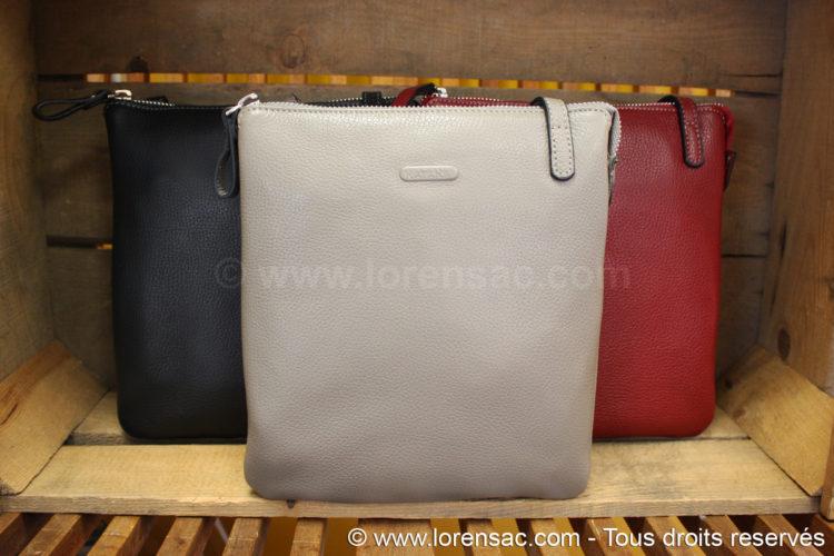 pochette kantana en cuir taupe rouge et noire