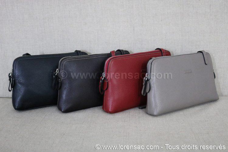 ensemble des 4 couleurs gris rouge chocolat et noir de la Pochette femme bandoulière en cuir véritable