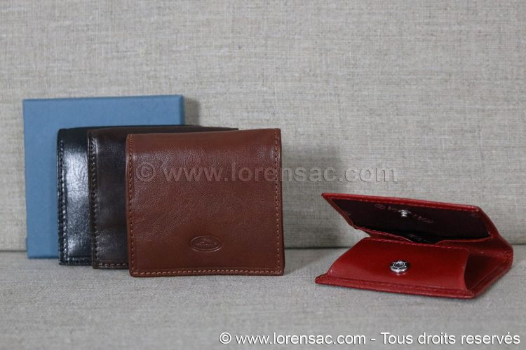 4 porte monnaie italien en cuir Katana un rouge un marron un chocolat et un noir avec un coffret