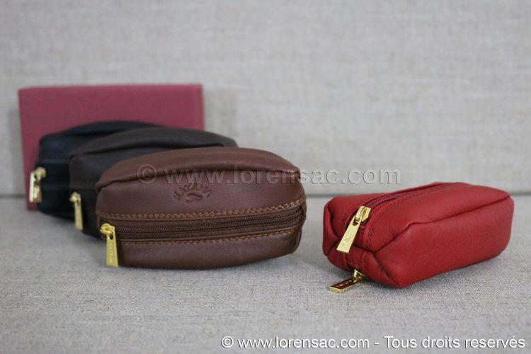 Porte monnaie grain de café rouge marron chocolat et noire avec un coffret