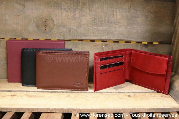 ensemble portefeuille rouge marron noir avec coffret