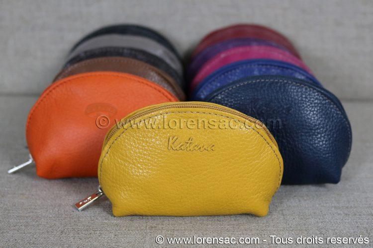 Porte monnaie de face en cuir et ses 11 coloris
