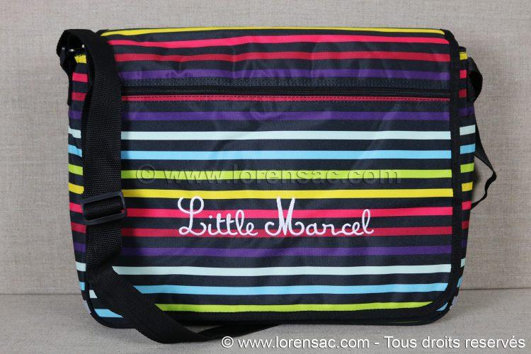 """Besace scolaire / Sacoche ordinateur 15"""" Little Marcel rayures Multicolore"""