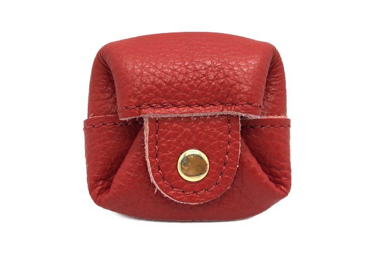 Vue de dessus Mini porte monnaie rouge avec pression or