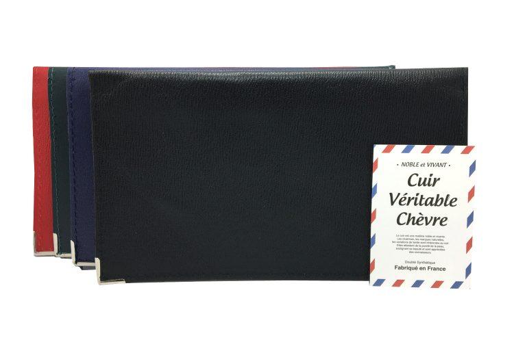 Ensemble des coloris noir bleu vert et rouge du porte chéquier en cuir véritable