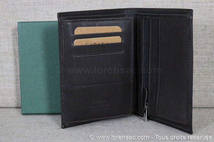 Portefeuille multiple rangement en cuir ouvert et son coffret cadeau