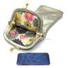 étui lunette cuir avec une doublure intérieure en tissus imprimé fleur